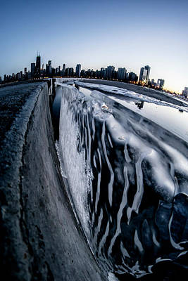 Wall Of Ice And Chicago Skyline At Dusk  Poster by Sven Brogren
