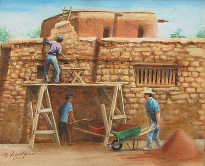 Poster featuring the painting Wall Repair by Oz Freedgood