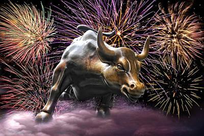 Wall Street Bull Fireworks Poster