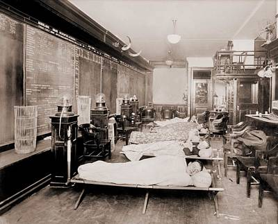 Wall Street Clerks Sleeping In Office Poster by Everett