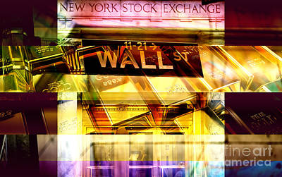 Wall Street Gold Poster by John Rizzuto