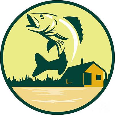 Walleye Fish Lake Lodge Cabin Circle Retro Poster