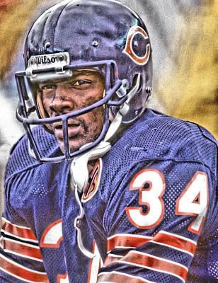 Walter Payton Chicago Bears Art Poster by Joe Hamilton