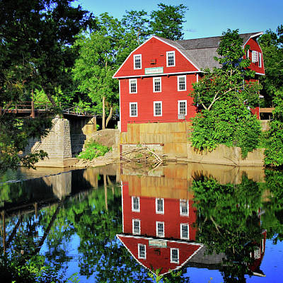 War Eagle Mill Reflection - Northwest Arkansas Poster by Gregory Ballos