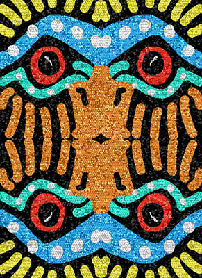 Poster featuring the digital art War Eagle Totem Mosaic by Shelli Fitzpatrick