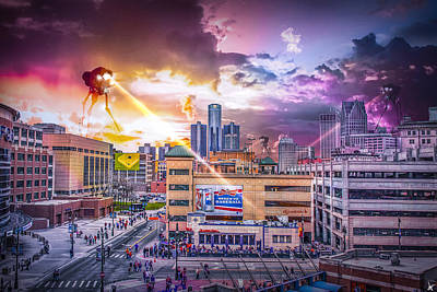 Poster featuring the photograph War Of The Worlds Detroit By Nicholas Grunas by Nicholas  Grunas