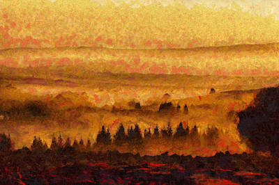 Warm Landscape Art - Trees On The Hill At Sunset  Poster by Wall Art Prints