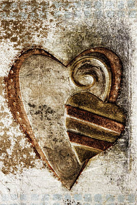 Warm Love Metal Heart Poster by Carol Leigh