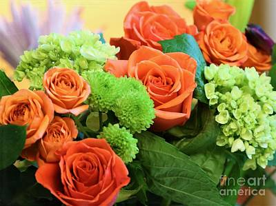 Warm Peach Rose Bouquet Poster