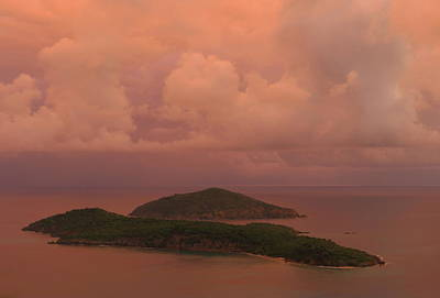 Poster featuring the photograph Warm Sunset Palette Of Inner And Outer Brass Islands From St. Thomas by Jetson Nguyen