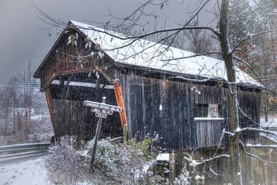 Warren Covered Bridge In Snow - Warren Vermont Poster by Joann Vitali