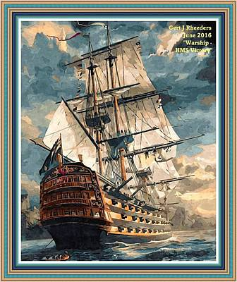 Warship - Hms Victory P A With Decorative Ornate Printed Frame. Poster