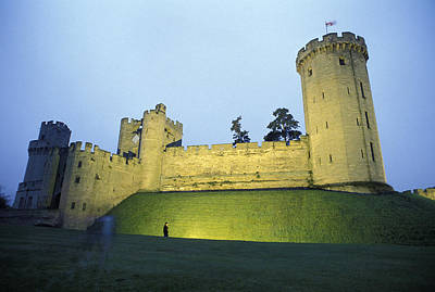 Warwick Castle At Dawn With A Man Poster by Richard Nowitz