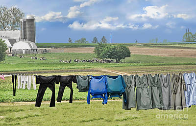 Wash Day In Amish Country Poster by Dyle   Warren