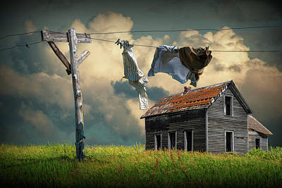 Wash On The Line By Abandoned House Poster