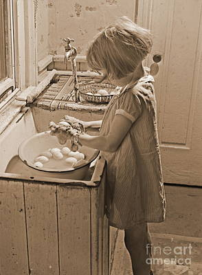 Washing Eggs Sepia Poster by Padre Art