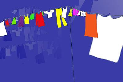 Poster featuring the digital art Washing Line by Barbara Moignard
