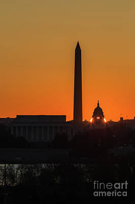 Washington Dc Equinox Sunrise I Poster by Clarence Holmes