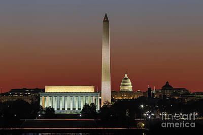 Washington Dc Landmarks At Dawn I Poster by Clarence Holmes