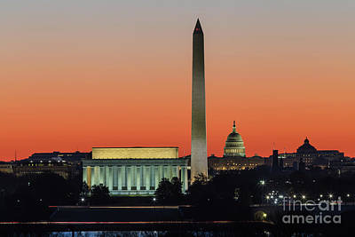 Washington Dc Landmarks At Dawn II Poster by Clarence Holmes