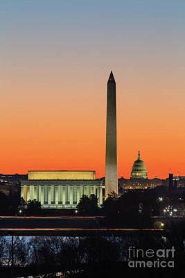 Washington Dc Landmarks At Dawn IIi Poster by Clarence Holmes