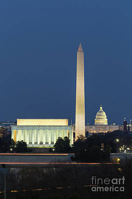 Washington Dc Landmarks At Twilight II Poster by Clarence Holmes
