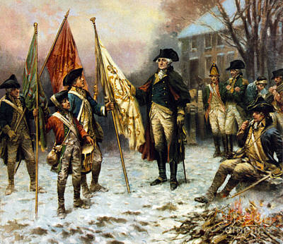 Washington Inspecting Captured Flag Poster by Science Source