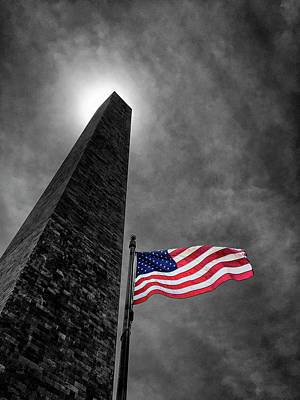 Washington Monument And The Stars And Stripes Poster by Andrew Soundarajan