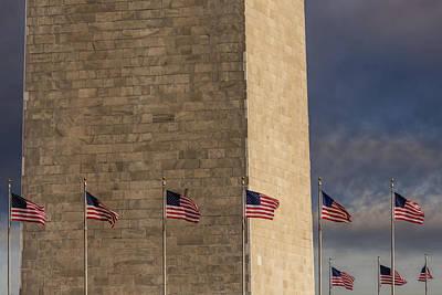 Washington Monument And Usa Flags Poster