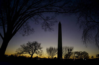 Washington Monument At Twilight With Moon Poster