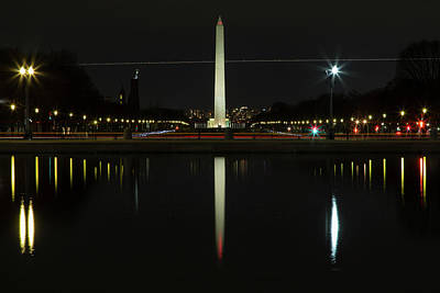 Washington Monument In Reflection Poster by John Daly