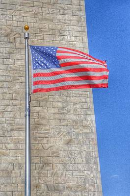 Washington Monument With The American Flag Poster