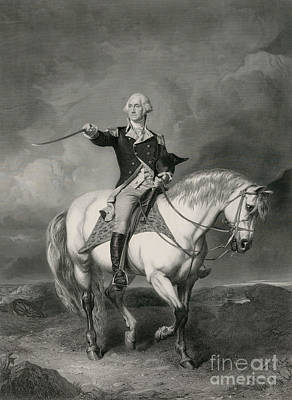 Washington Receiving A Salute On The Field Of Trenton Poster by John Faed