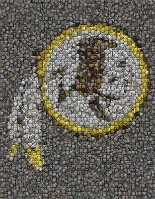 Washington Redskins Coins Mosaic Poster by Paul Van Scott