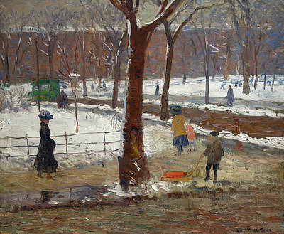Washington Square, Winter Poster by William Glackens