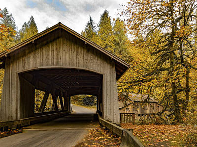 Washington State Covered Bridge And Grist Mill In Autumn  Poster
