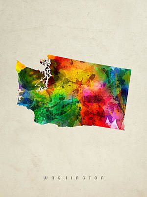 Washington State Map 01 Poster by Aged Pixel