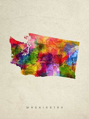 Washington State Map 02 Poster by Aged Pixel