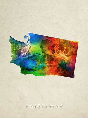 Washington State Map 03 Poster by Aged Pixel