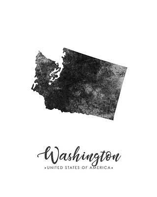 Washington State Map Art - Grunge Silhouette Poster