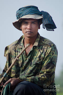 Water Buffalo Driver In Cambodia Poster
