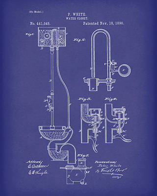 Poster featuring the drawing Water Closet Patent Art Blue by Prior Art Design