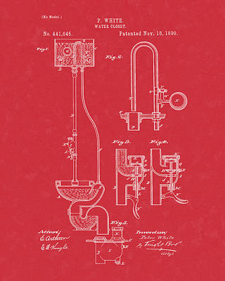 Poster featuring the drawing Water Closet Patent Art Red by Prior Art Design