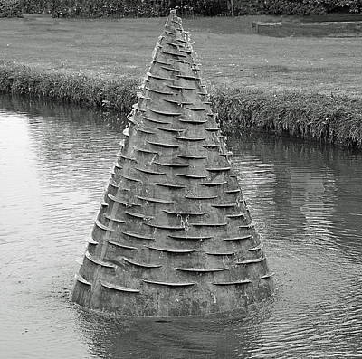 Water Feature Sculpture Monochrome Poster by Jeff Townsend