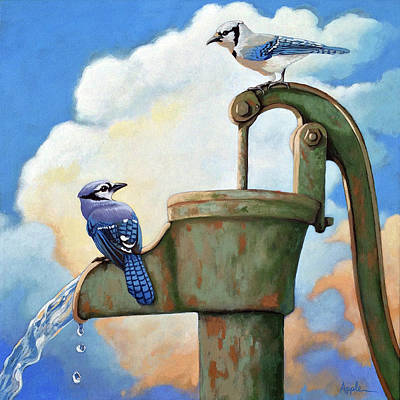Poster featuring the painting Water Is Life #3 -blue Jays On Water Pump Painting by Linda Apple