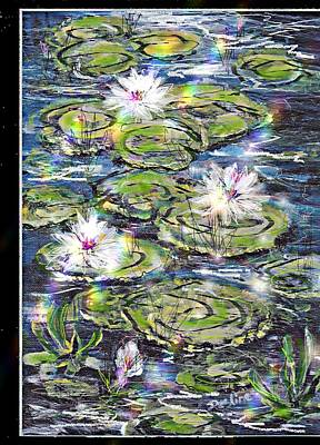 Water Lilies And Rainbows Poster