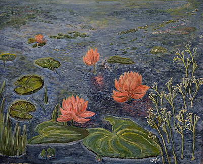 Poster featuring the painting Water Lilies Lounge by Felicia Tica