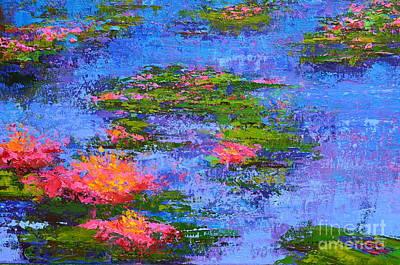 Waterlilies Lily Pads - Modern Impressionist Landscape Palette Knife Work Poster