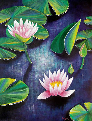 Poster featuring the painting Water Lilies by Susan DeLain