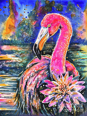 Poster featuring the painting Water Lily And Flamingo by Zaira Dzhaubaeva